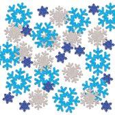 12 of Snowflake Deluxe Sparkle Confetti blue, lt blue, silver