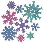 12 of Snowflake Cutouts prtd 2 sides/glitter print 1 side