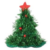 12 of Tinsel Christmas Tree Hat one size fits most
