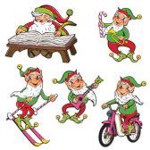 12 of Vintage Christmas Santa & Elves Cutouts prtd 2 sides