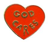 "96 of Brass Hat Pin, ""God Cares"""
