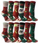 120 of Christmas Printed Socks, Fun Colorful Festive, Crew, Sock Size 9-11