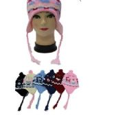 96 of Kids Flower Printed Helmet Winter Hat