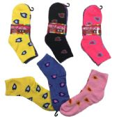 360 of Ladies Teens Quarter Socks Two Tone Hearts