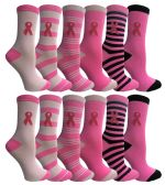 360 of Pink Ribbon Breast Cancer Awareness Crew Socks for Women