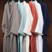 2 of Premium Long Staple Cotton Unisex Waffle Weave Bath Robe In Aqua Blue