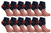 24 of Yacht & Smith USA Printed Ankle Socks Size 9-11
