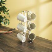 6 of Home Basics 6 Piece Crochet Mug Set with Stand, White
