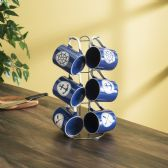 6 of Home Basics Nautical 6 Piece Mug Set with Stand, Navy