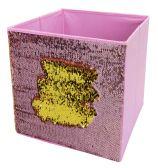 "12 of Home Basics 12"" Reversible Mermaid Sequin Storage Bin, Pink/Gold"