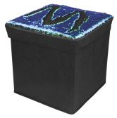 "6 of Home Basics 15""  Reversible Sequin Storage Ottoman, Mermaid Black"