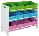 Home Basics MDF Kids Storage Shelf with 9  Canvas Bins, White/Multi-Color