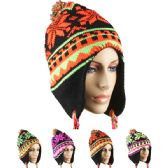 96 of WINTER NEON COLOR HATS WITH POM POM ASSORTED