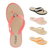 60 of Women's Flip Flop with Braided Straps and Crystal Heart Ornament