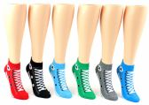 48 of Women's Low Cut Novelty Socks - Sneaker Print - Size 9-11