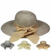 48 of WOMEN'S SUMMER HAT WITH BOW IN ASSORTED COLOR