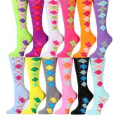 240 of Womens Argyle Crew Socks Assorted Colors