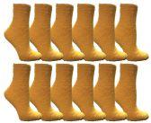 12 of Womens Fuzzy Snuggle Socks Dark Yellow, Size 9-11 Comfort Socks