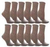 12 of Womens Fuzzy Snuggle Socks Gray, Size 9-11 Comfort Socks