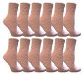 12 of Womens Fuzzy Snuggle Socks Lilac, Size 9-11 Comfort Socks
