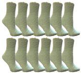 12 of Womens Fuzzy Snuggle Socks Mint, Size 9-11 Comfort Socks