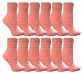 12 of Womens Fuzzy Snuggle Socks Pink, Size 9-11 Comfort Socks