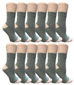 12 of Yacht & Smith Women's Fuzzy Snuggle Socks , Size 9-11 Comfort Socks Teal With White Heel and Toe
