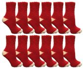 12 of Womens Fuzzy Snuggle Socks , Size 9-11 Comfort Socks Red With White Heel and Toe