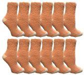 12 of Womens Fuzzy Snuggle Socks , Size 9-11 Comfort Socks Orange With White Heel and Toe