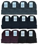12 of YACHT & SMITH 12 Pack Winter Beanie Hats, Thermal Stretch Unisex Cuffed Plain Skull Knit Hat Cap (Stripes)