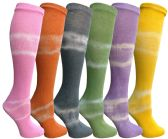 6 of Yacht & Smith 6 Pairs Girls Tie Dye Knee High Socks, Anti Microbial, Premium Soft Touch, Kids
