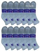 12 of Yacht & Smith Men's King Size Loose Fit Non-Binding Cotton Diabetic Ankle Socks,Gray Size 13-16