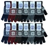 240 of Yacht & Smith Snowflake Print Mens Winter Gloves With Stretch Cuff 240 Pairs