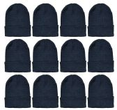 12 of Yacht & Smith Black Beanies Bulk Thermal Winter Hat Solid Black