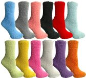 144 of Women's Solid Colored Fuzzy Socks Assorted Colors, Size 9-11