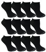 480 of Yacht & Smith Womens Cotton Low Cut No Show Loafer Socks Size 9-11 Solid Black BULK BUY