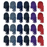 96 of Yacht & Smith Womens Warm Winter Hats And Glove Set Assorted Colors 96 Pieces